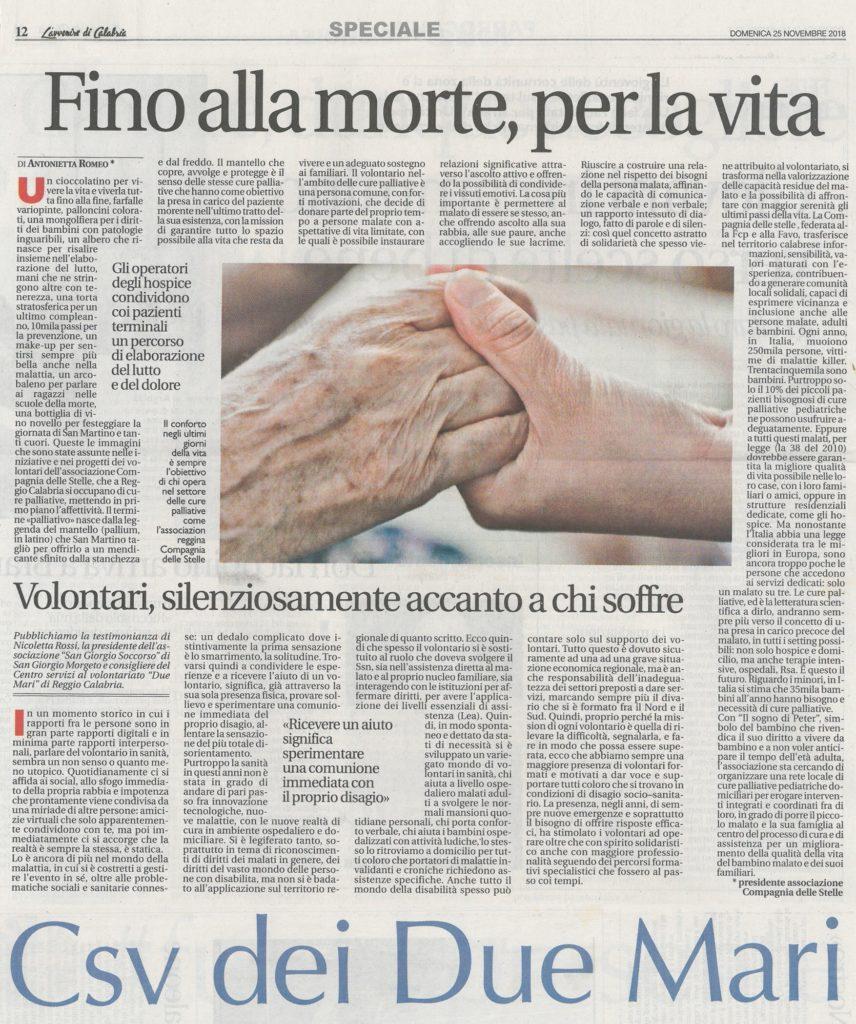 """""""Fino alla morte , per la vita """" – dal Giornale di Calabria del 25 Novembre 2018"""